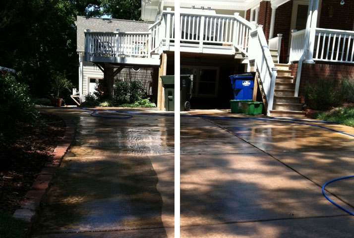 Residential pressure washing includes cleaning driveways.