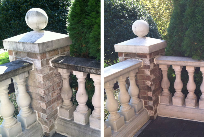 Masonry and stonework cleans up well with a good pressure washing.