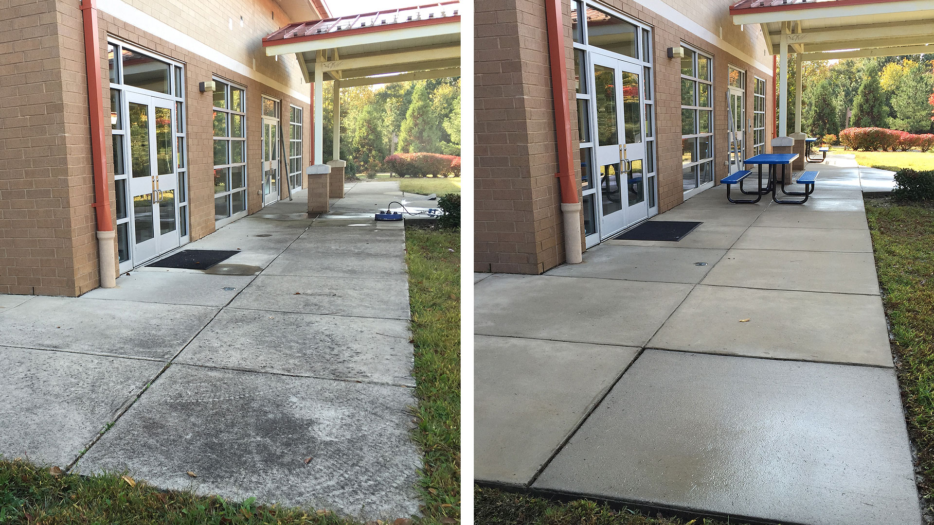 Power Washing Raleigh School