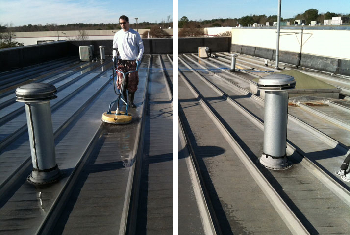 Roof tops are a common place for pressure washing.